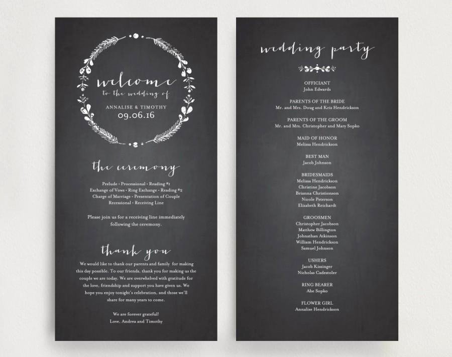 wedding program printable template printable program diy printable pdf instant rustic vintage chalkboard theme bpb129