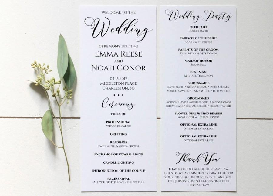 Wedding Program Printable Wedding Program Template