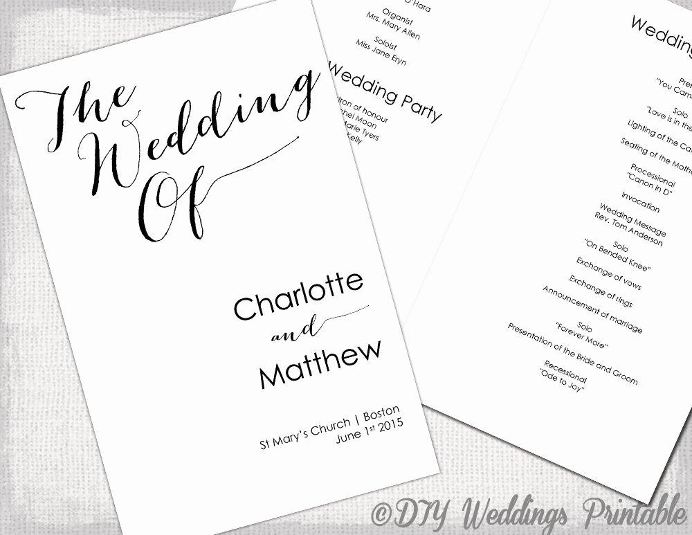 Wedding Program Template Calligraphy Black & White Printable
