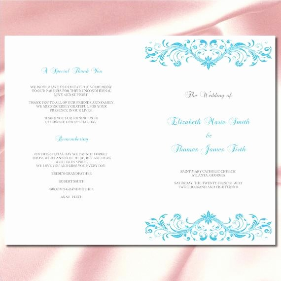 Wedding Program Template Diy Malibu Blue Silver Ceremony