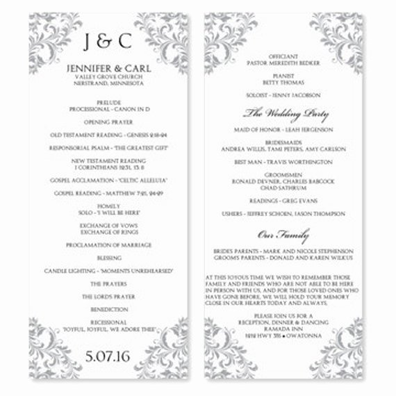 Wedding Program Template Instant Download by