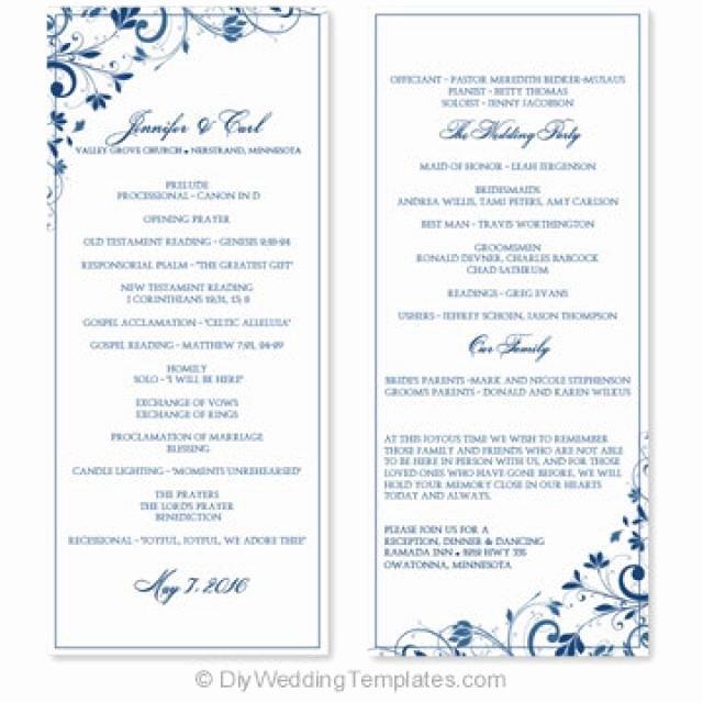 Wedding Program Template Instant Download Edit
