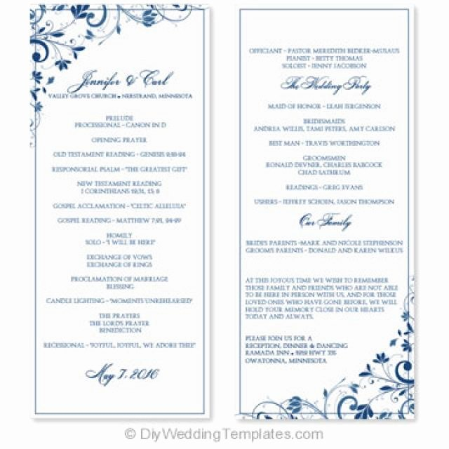 Wedding Program Template Instant Download Edit
