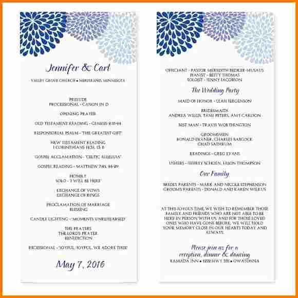 Wedding Program Template Microsoft Word