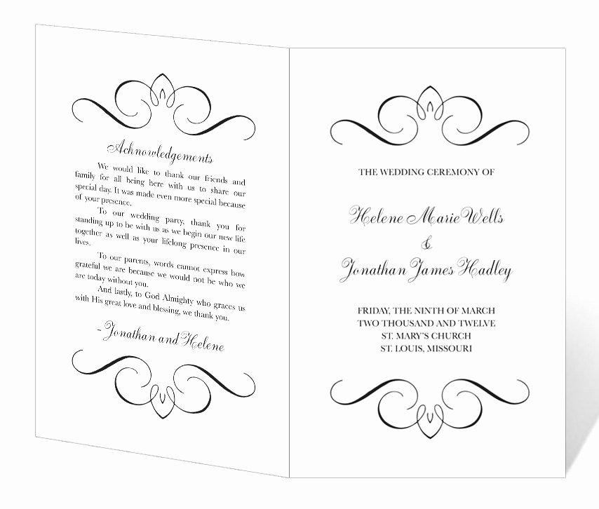 Wedding Program Template Printable Instant Download