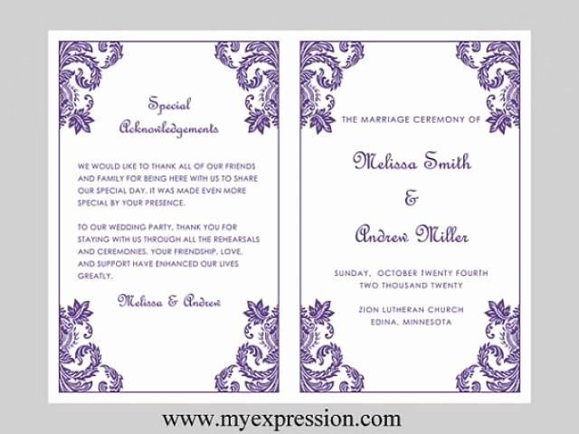 Wedding Program Template – Purple Damask ornament Instant