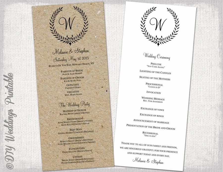 "Wedding Program Template Rustic Black ""leaf Garland"