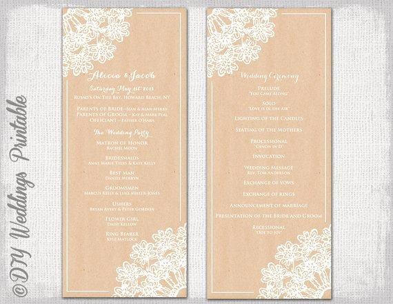 Wedding Program Template Rustic Wedding by