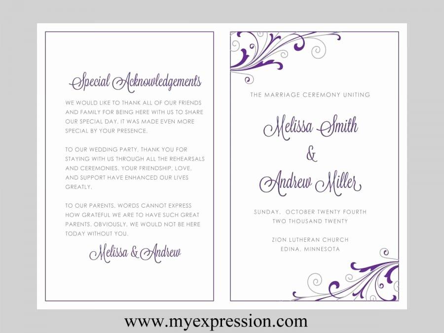 Wedding Program Template – Swirl and Flourish Purple
