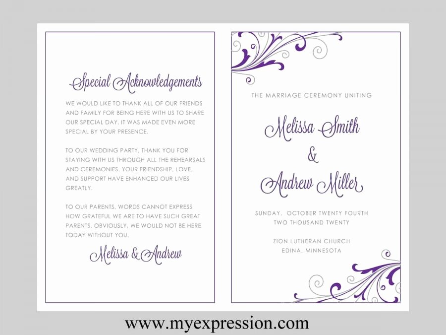 Wedding Program Template – Swirl and Flourish Purple