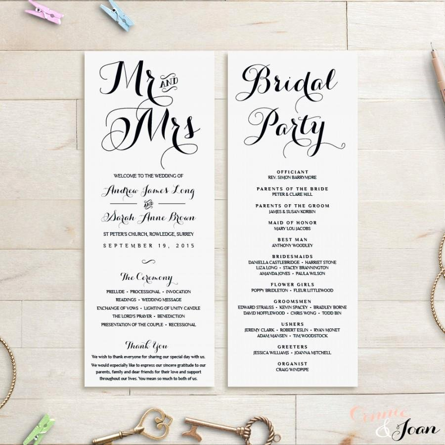 Wedding Program Template Wedding order Service