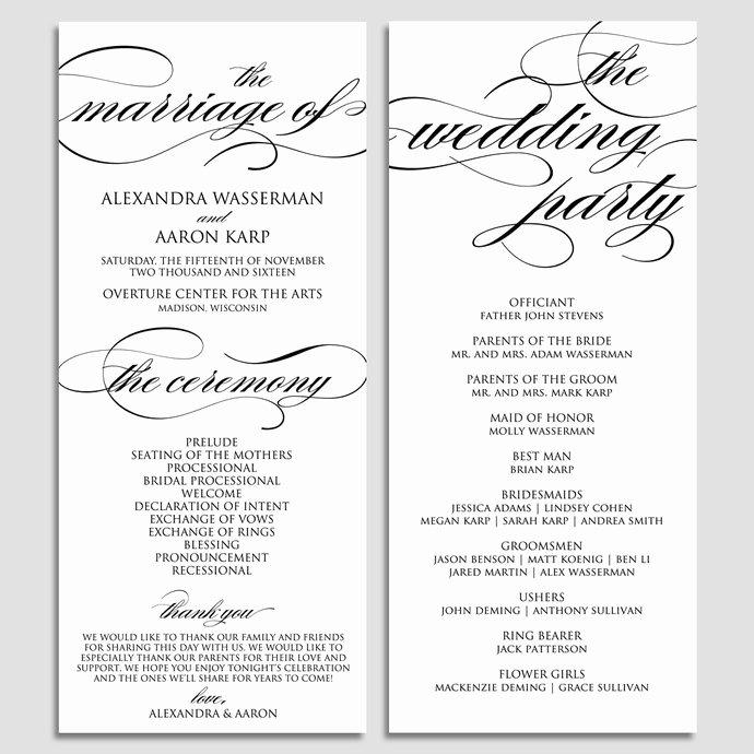 Wedding Program Template Wedding Program by Modernsoiree