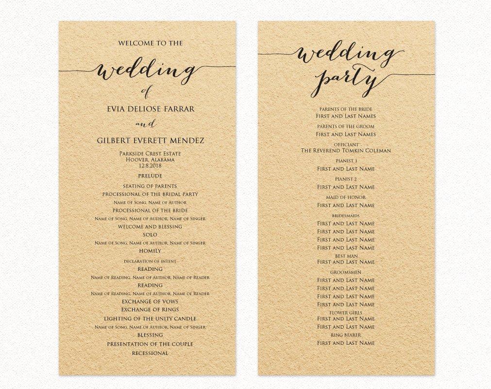 Wedding Program Template Wedding Program Cards