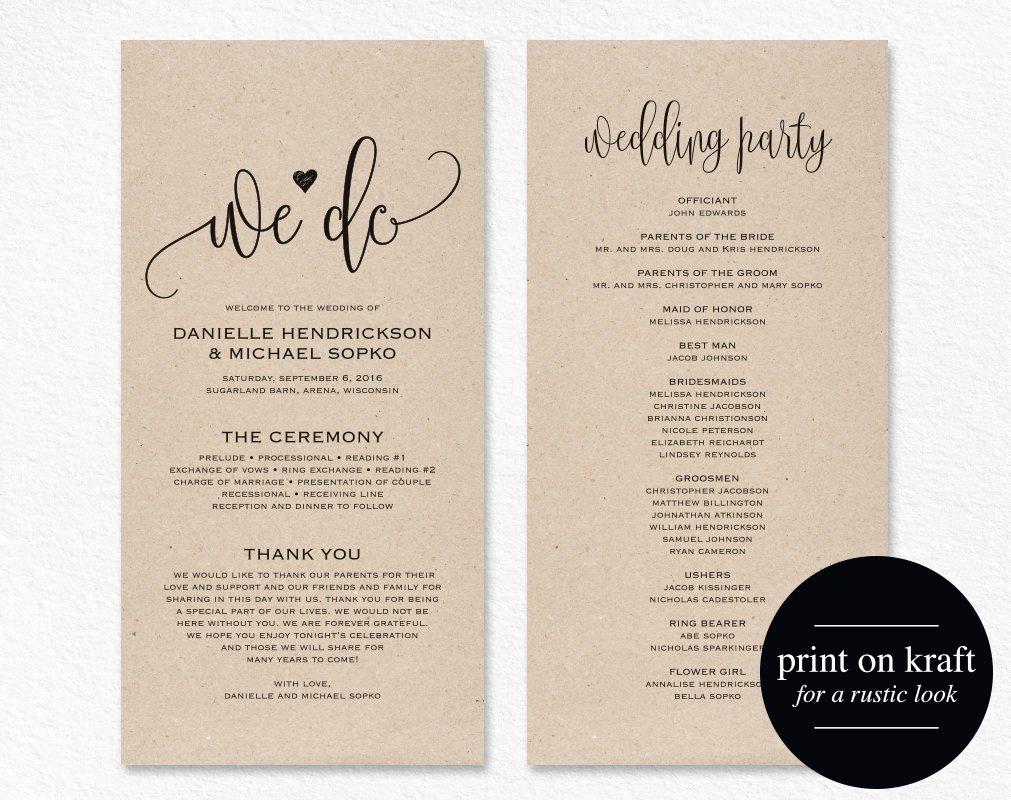 Wedding Program Template Wedding Program Printable We Do