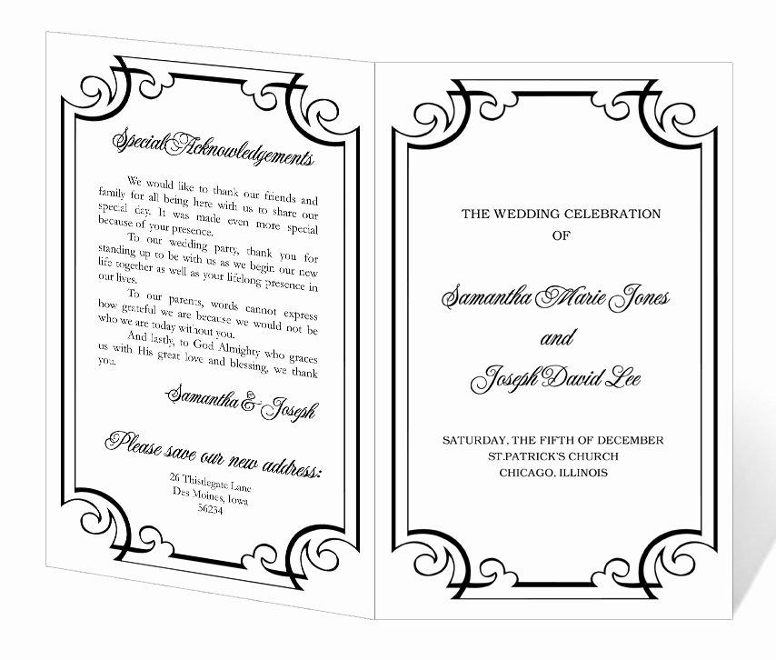 Wedding Program Template Word