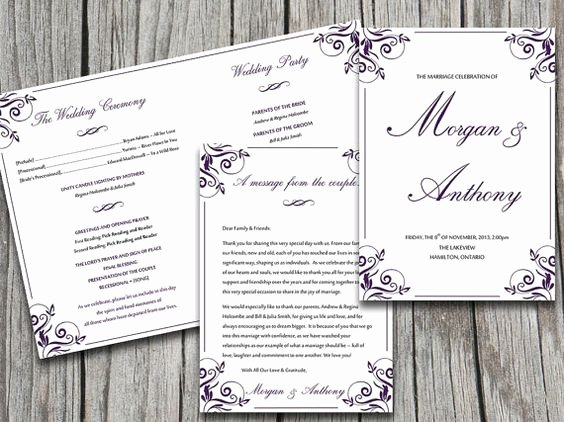 Wedding Program Templates Program Template and Wedding