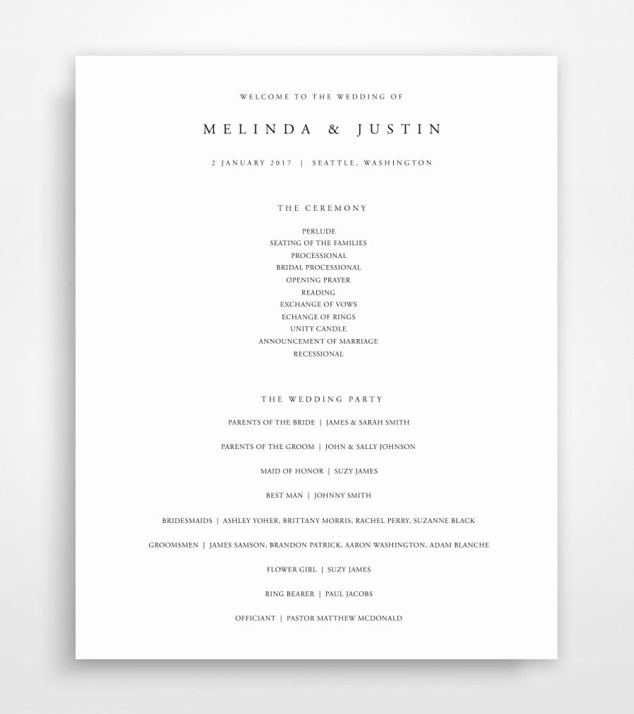 Wedding Program Wedding Program Instant Download Wedding
