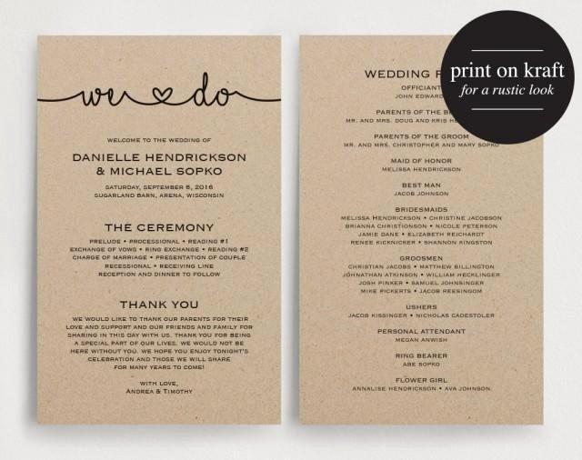 Wedding Programs Instant Download Printable Template