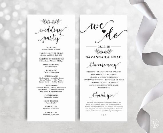 Wedding Programs Printable Wedding Program Template by