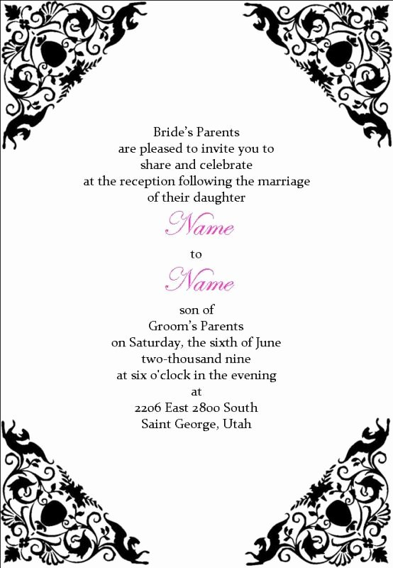Wedding Reception Invitation Wording Template