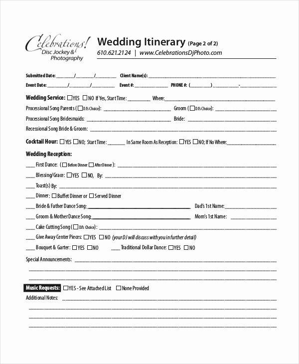 Wedding Reception Itinerary Template Invitation Template