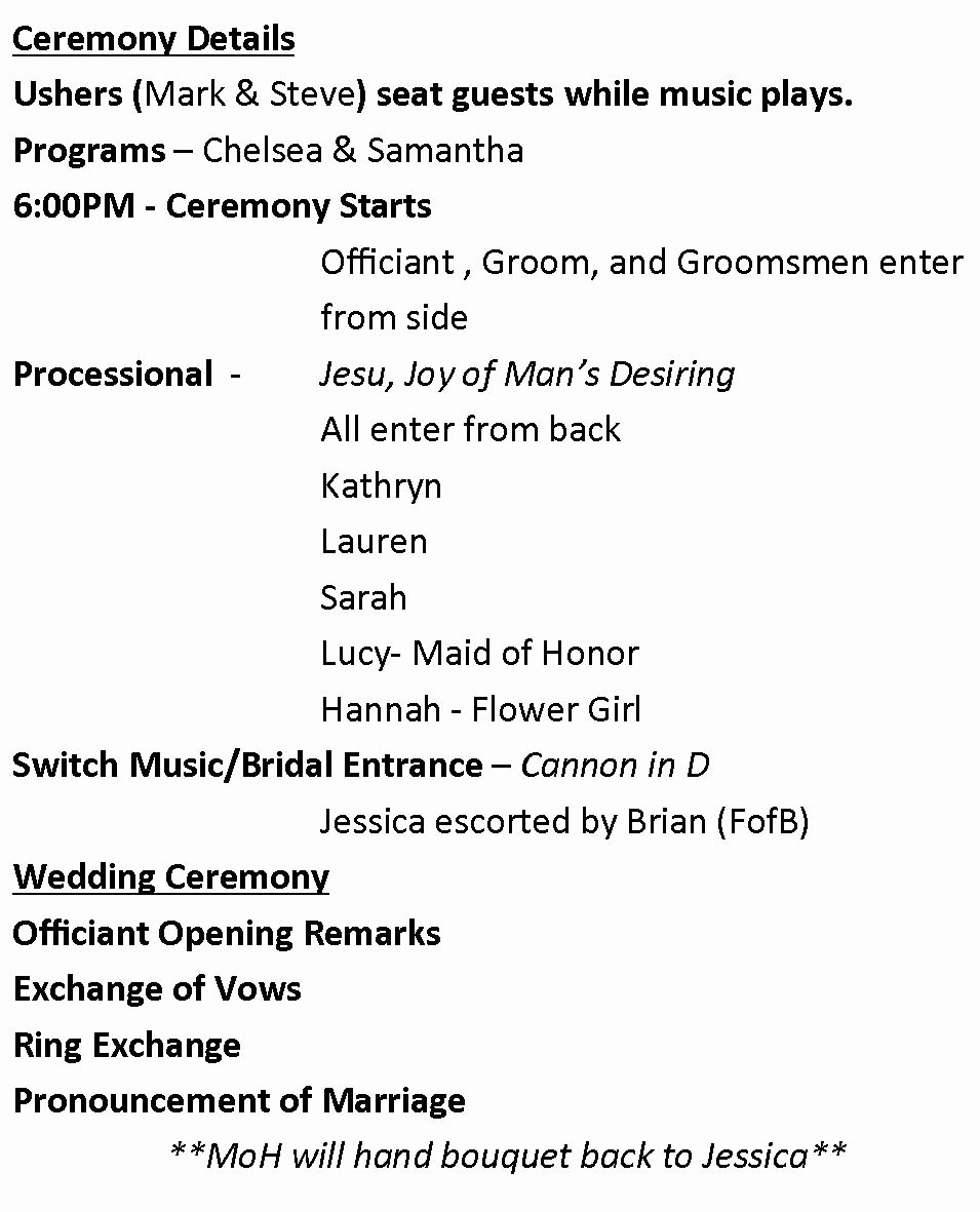 Wedding Reception Program Template