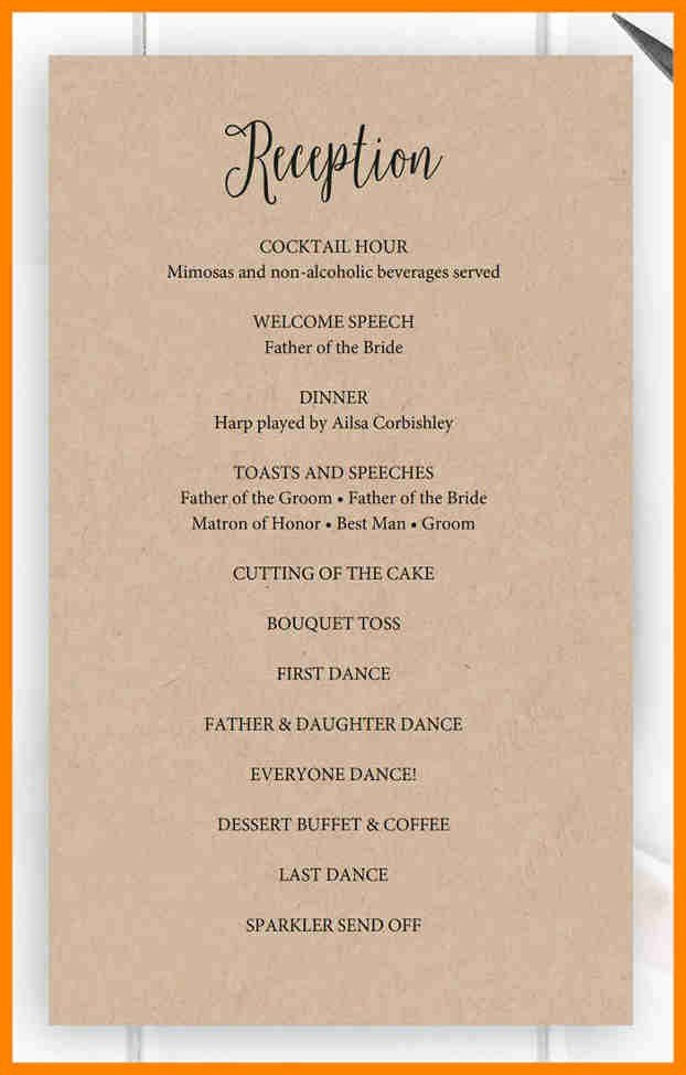 Wedding Reception Programme Program In Party Template