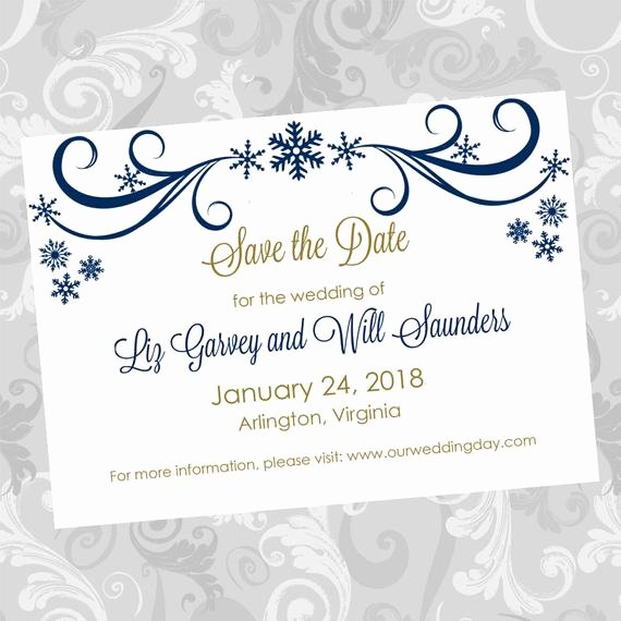 Wedding Save the Date Diy Template Navy Swirling Snowflakes