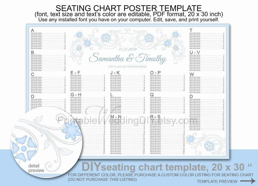 Wedding Seating Chart Poster Template Printable Diy Reception
