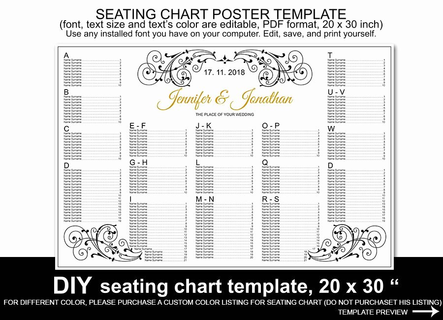 Wedding Seating Chart Poster Template Printable Reception