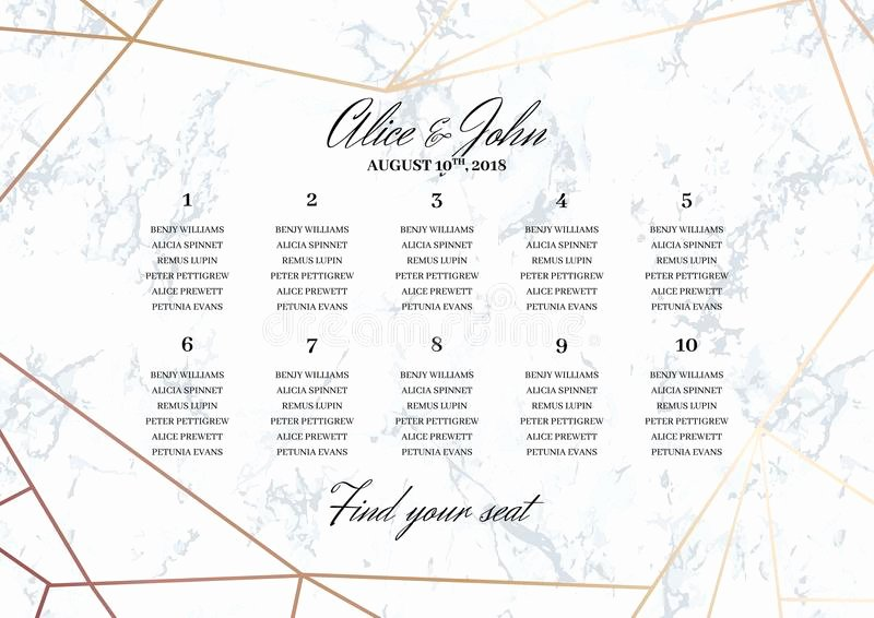 Wedding Seating Chart Poster Template Stock Vector