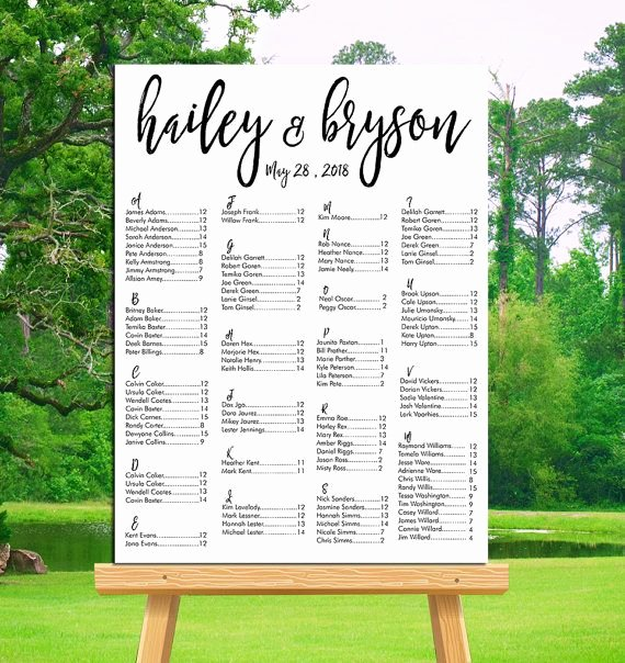 Wedding Seating Chart Printable Alphabetical or by Table