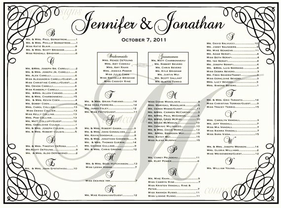 Wedding Seating Chart Seating Template by Charmingpapershop