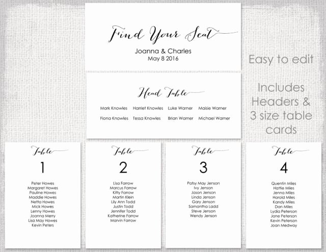 "Wedding Seating Chart Template Black ""bombshell"" Diy"