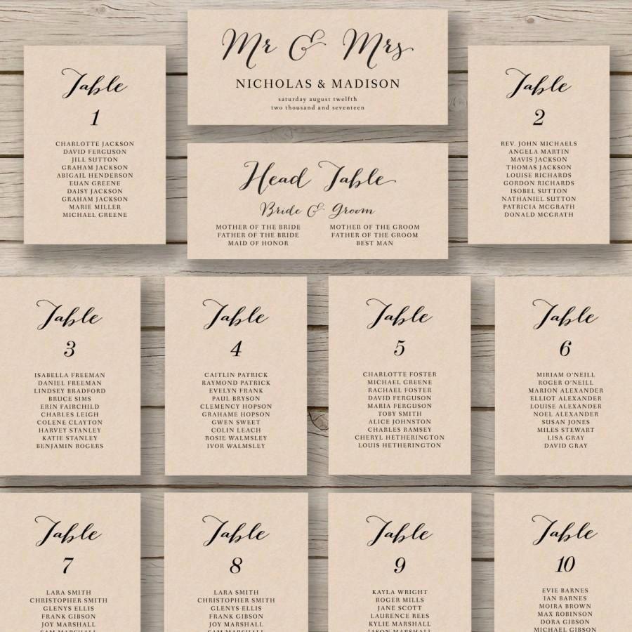 Wedding Seating Chart Template Printable Seating Chart