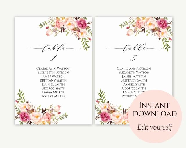 Wedding Seating Chart Template Seating Cards Seating