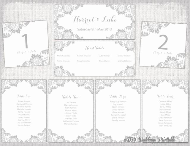 "Wedding Seating Chart Template Silver Gray ""antique Lace"