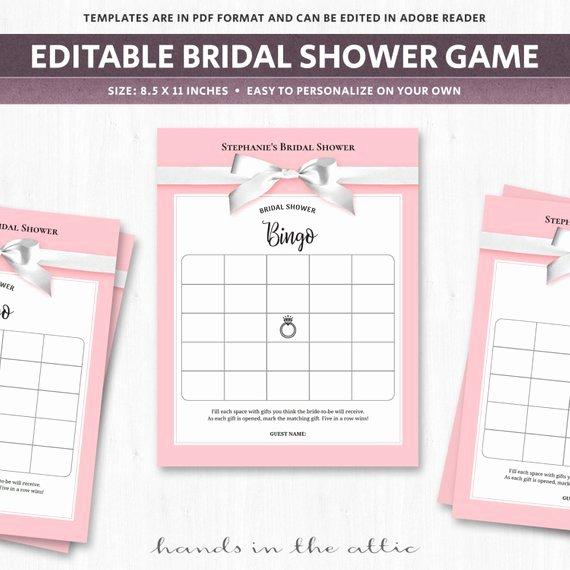 Wedding Shower Bingo Board Blank Bingo Cards Bridal