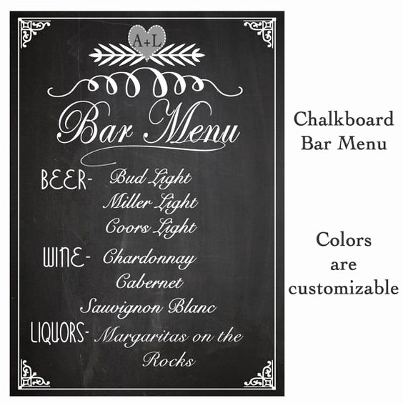Wedding Sign Drink Bar Menu Chalkboard Rustic Sign