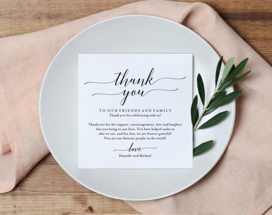 Wedding Thank You Card Thank You Printable Wedding Table
