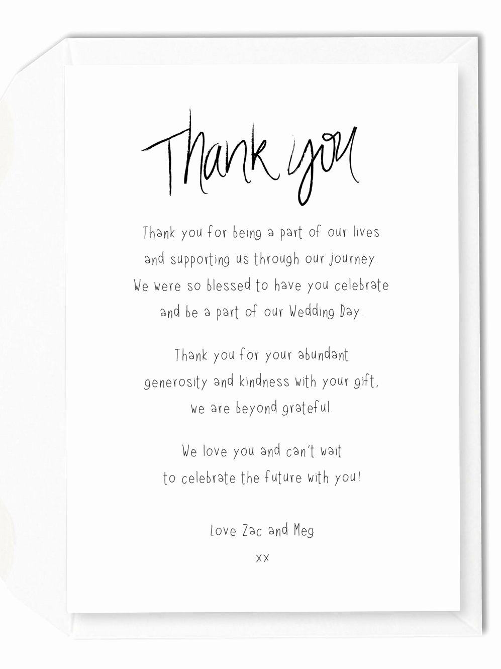 Wedding Thank You Cards Wording Generic Wedding Thank