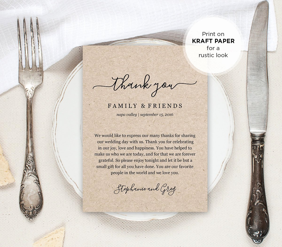 Wedding Thank You Letter Thank You Note Printable Wedding In