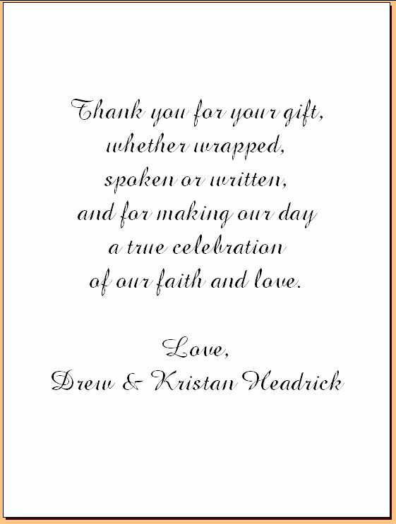 Wedding Thank You Note Examples