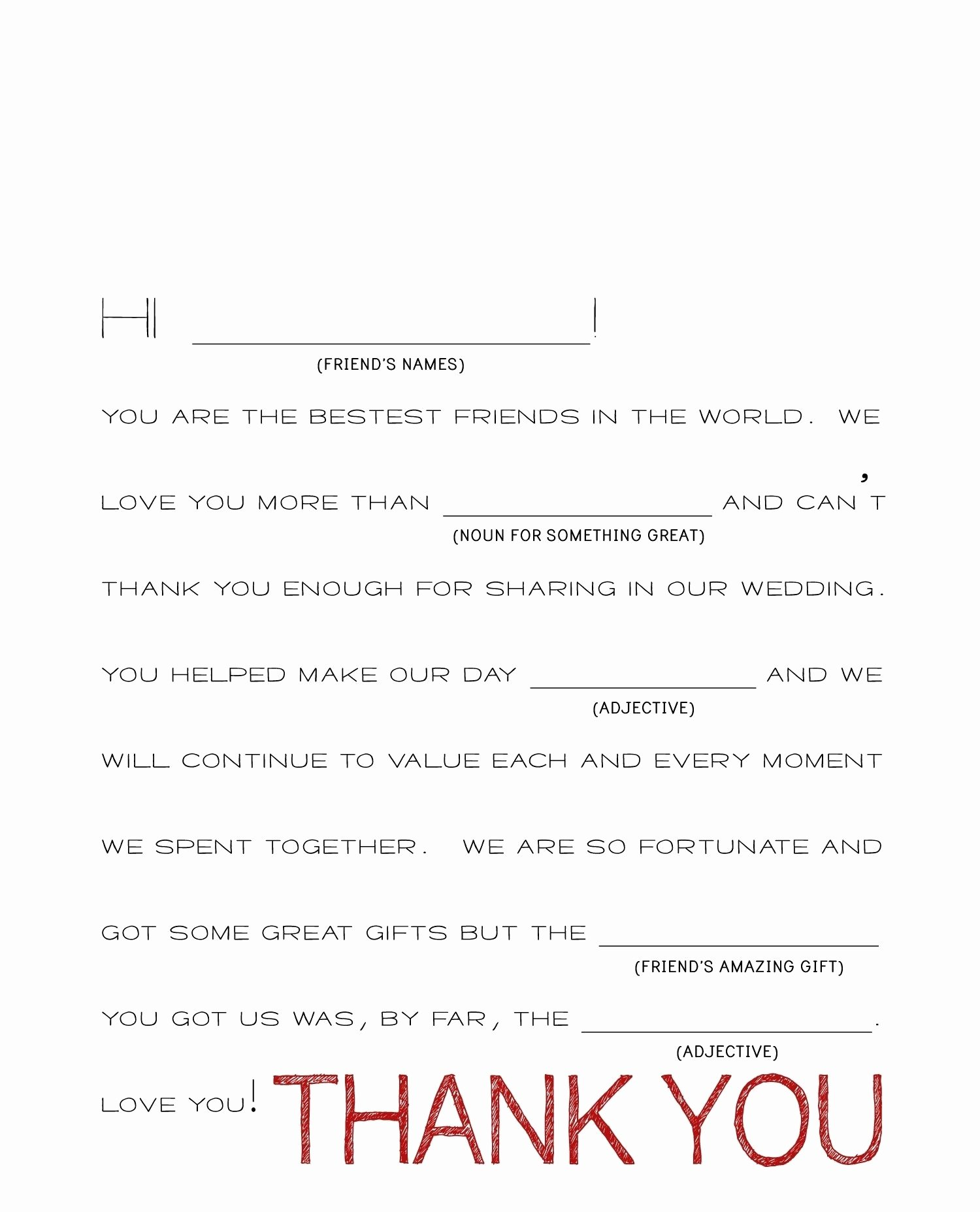 Wedding Thank You Note Template 2018