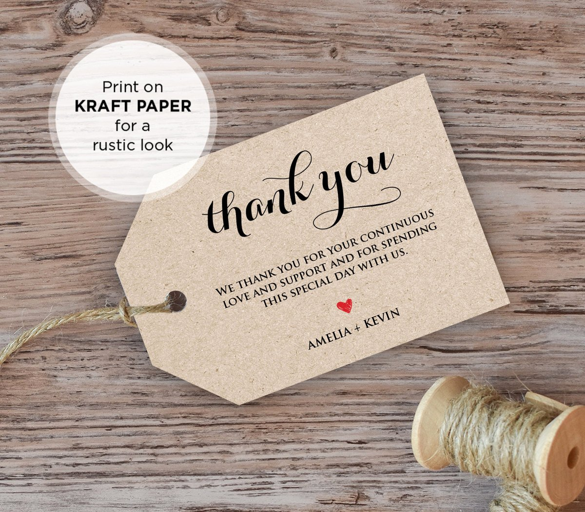 Wedding Thank You Tag Wel E Tag Favor Tag Diy Kraft