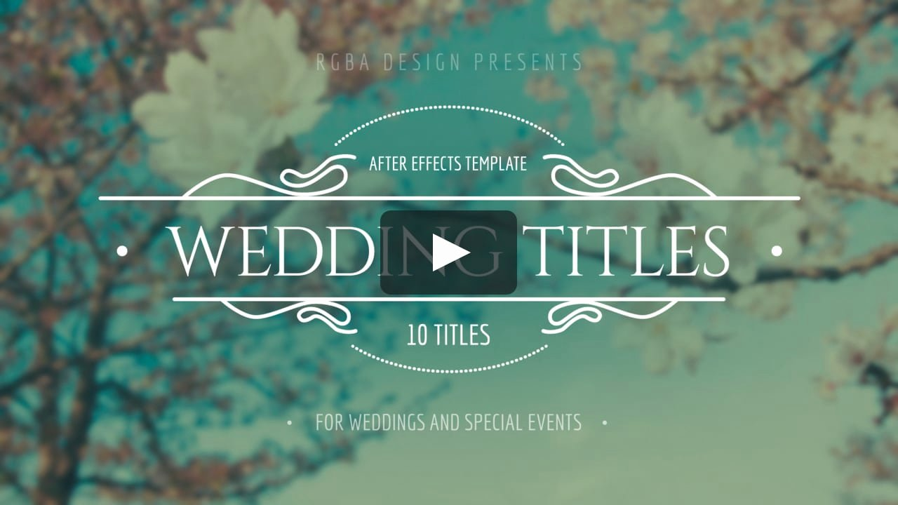 Wedding Titles after Effects Template On Vimeo
