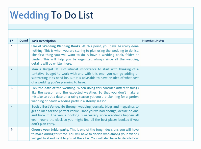 Wedding to Do List Template format Example