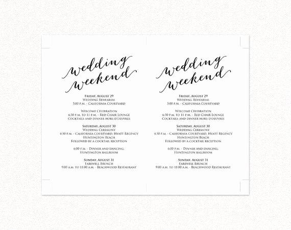 Wedding Weekend Itinerary Details Card Insert Wedding