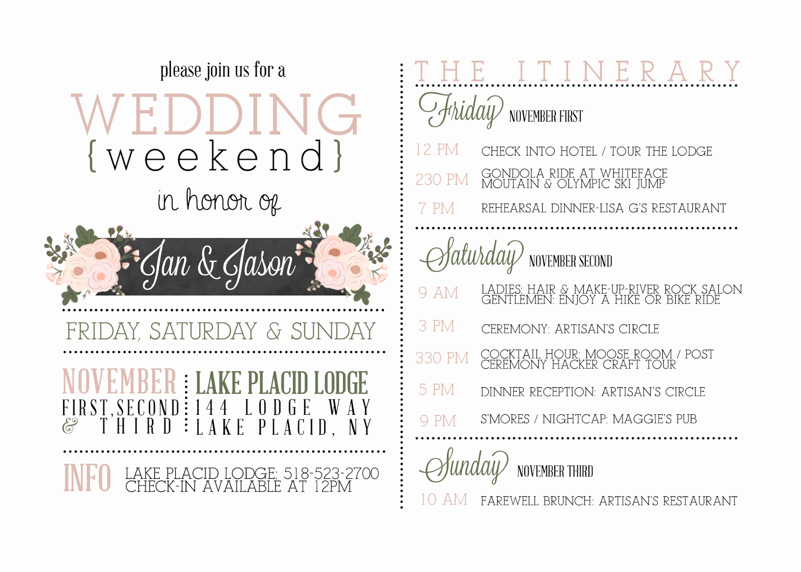 Wedding Weekend Itinerary Google Search …