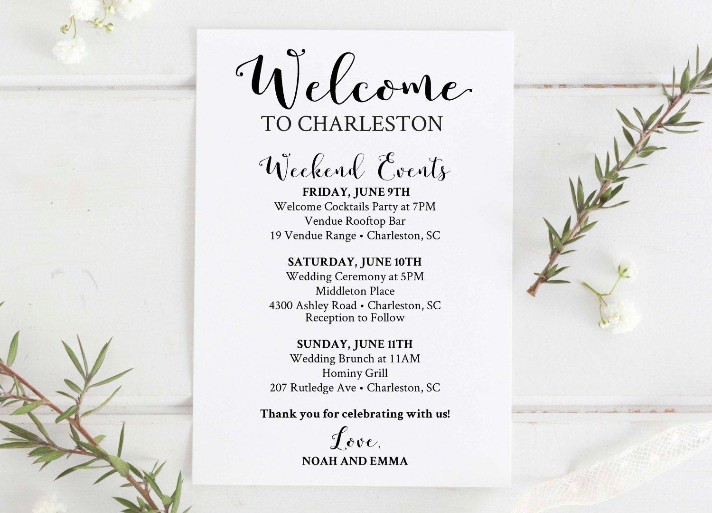 Wedding Wel E Bag Printable Editable Wedding Itinerary